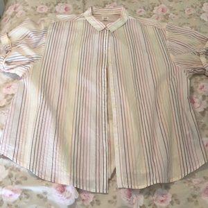 Boyfriend style pinstripe blouse.